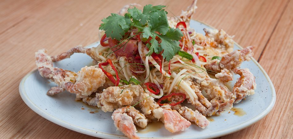 Deep fried soft shell crab with green papaya salad